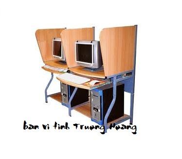 Bàn ghế máy vi tính khung sắt gỗ ép công nghiệp 01