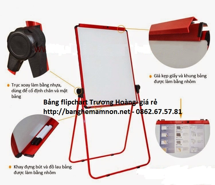 Bảng kẹp giấy flipchart 2 mặt (Từ trắng hàn quốc + mặt trắng hít từ KT 600*900mm)